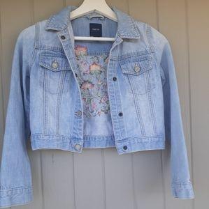 Gap Denim Jacket Flowers Girl L Size Light blue